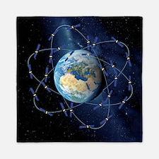 Galileo navigation satellite, artwork Queen Duvet