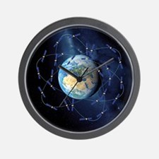 Galileo navigation satellite, artwork Wall Clock