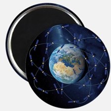 Galileo navigation satellite, artwork Magnet