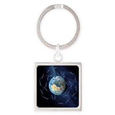 Galileo navigation satellite, artw Square Keychain