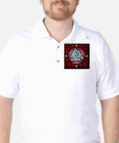Norse Valknut Tapestry - Red T-Shirt
