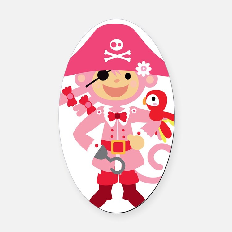 Captain Miss Monkie Oval Car Magnet
