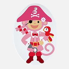 Captain Miss Monkie Oval Ornament