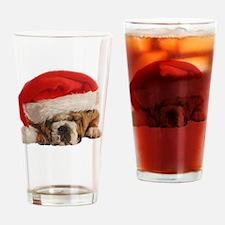 Funny Bulldog Christmas Drinking Glass
