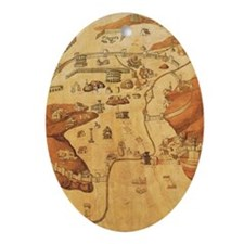 Medieval City Map Oval Ornament