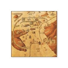 "Medieval City Map Square Sticker 3"" x 3"""