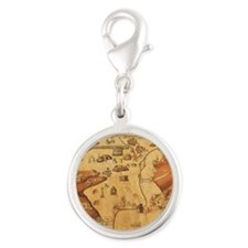 Medieval City Map Silver Round Charm