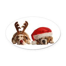 Funny Bulldog Christmas Oval Car Magnet