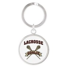 Lacrosse Goalie Round Keychain