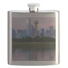 Dallas skyline reflected in water at sunset. Flask