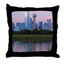 Dallas skyline reflected in water at  Throw Pillow