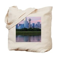 Dallas skyline reflected in water at suns Tote Bag