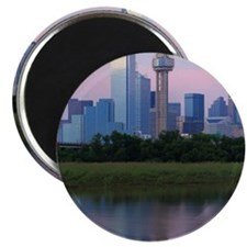 Dallas skyline reflected in water at sunset Magnet