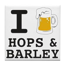 I Beer Hops and Barley Tile Coaster