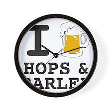 I Beer Hops and Barley Wall Clock