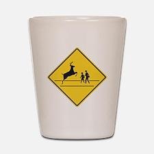School & Deer Crossing Shot Glass