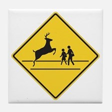 School & Deer Crossing Tile Coaster