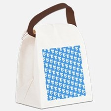 Blue Lobster Silhouette Chic Desi Canvas Lunch Bag