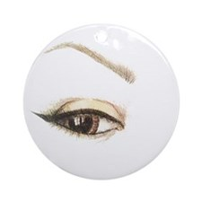 Brown Eye and Brow Round Ornament
