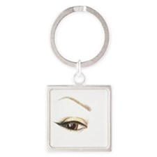 Brown Eye and Brow Square Keychain