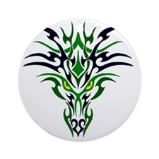 Two Toned Green Dragon Round Ornament
