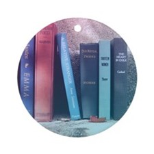 Staircase of Books Round Ornament