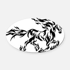 Tribal flame horse Oval Car Magnet