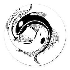 Tribal Yin Yang Fish Round Car Magnet