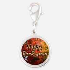 Happy Thanksgiving Silver Round Charm