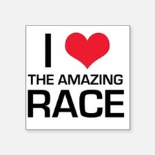 "I Love The Amazing Race Square Sticker 3"" x 3"""
