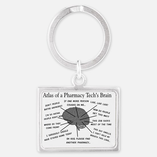 Atlas of a pharmacy techs brain Landscape Keychain