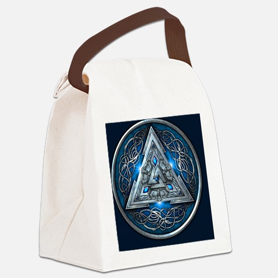 Norse Valknut Tapestry - Blue Canvas Lunch Bag
