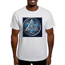 Norse Valknut Tapestry - Blue T-Shirt