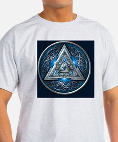 Norse Valknut Tapestry - Blue T-Shirt