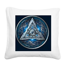 Norse Valknut Tapestry - Blue Square Canvas Pillow
