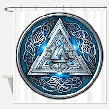 Norse Valknut - Blue Shower Curtain
