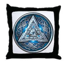 Norse Valknut - Blue Throw Pillow