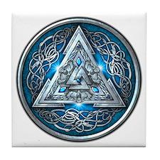 Norse Valknut - Blue Tile Coaster