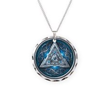 Norse Valknut - Blue Necklace Circle Charm