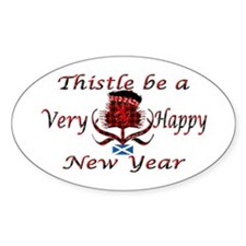 Red tartan thistle new year Decal