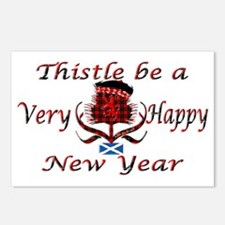 Red tartan thistle new ye Postcards (Package of 8)
