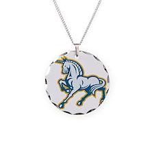 Unicorn Prancing Side Retro Necklace Circle Charm