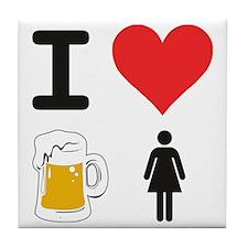 I Heart Drunk Chicks Tile Coaster