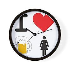 I Heart Drunk Chicks Wall Clock