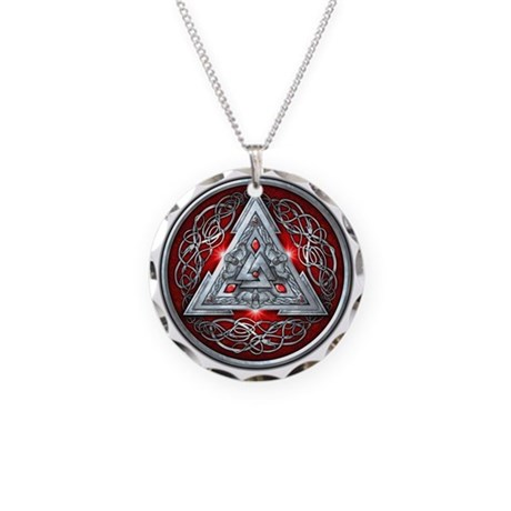 Norse Valknut - Red Necklace Circle Charm