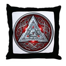 Norse Valknut - Red Throw Pillow