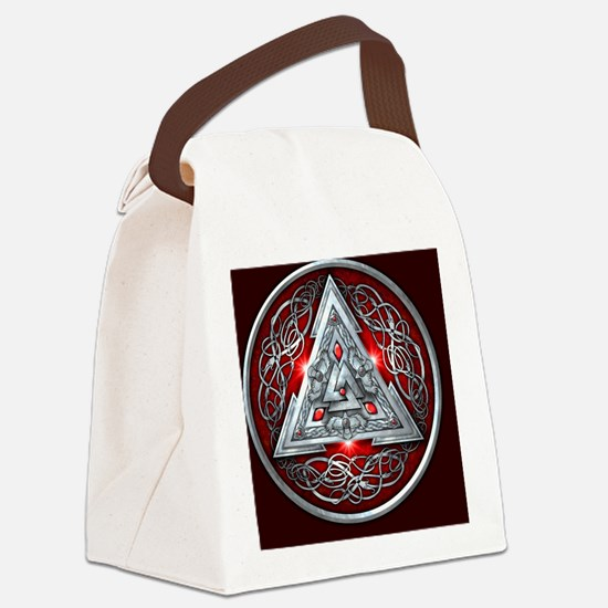 Norse Valknut - Red Canvas Lunch Bag