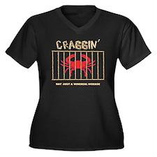 Crabbin Women's Plus Size Dark V-Neck T-Shirt