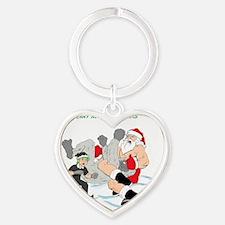 MMA Santa vs SnowMonster Heart Keychain
