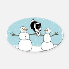 bordercolliewinterCP Oval Car Magnet